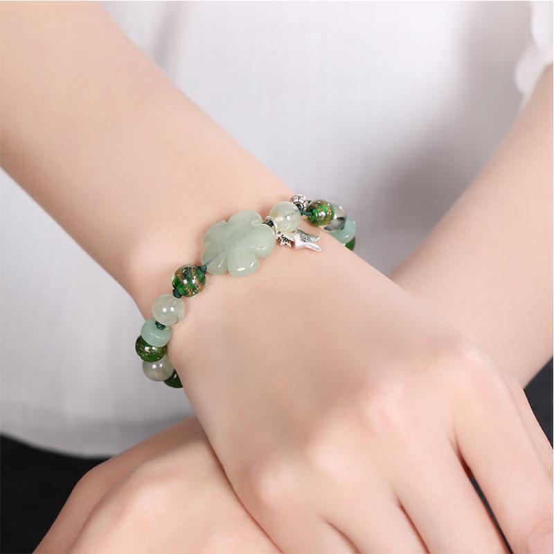 Natural Jade Grape Stone Hand-Woven Bracelet Female S925 Star Accessories Glazed Bracelet Simple Retro Couple