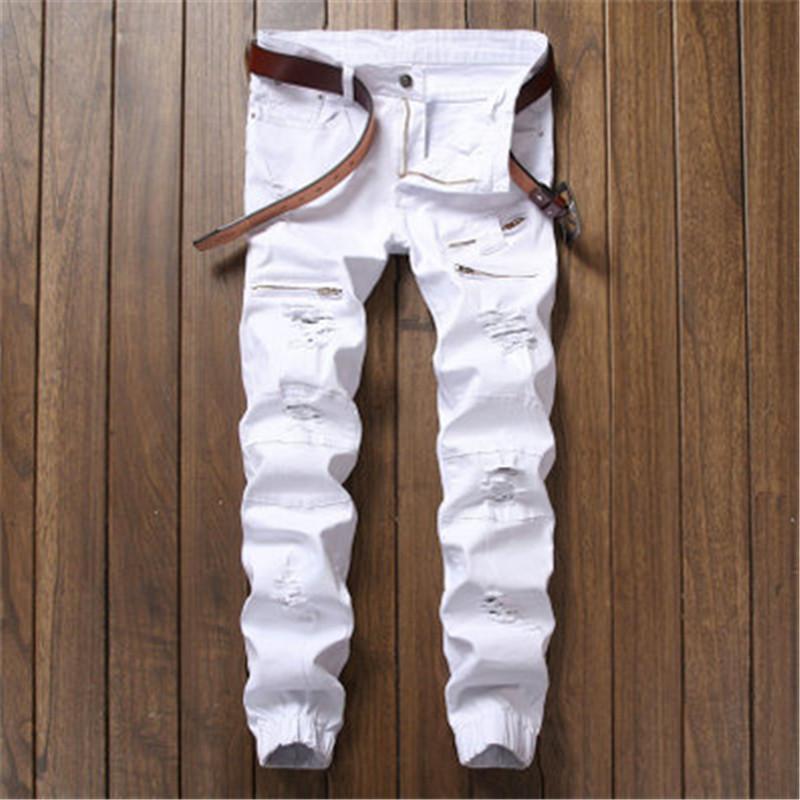 Classique European American Pure Color Les Jeans de haute qualité des hommes de tendance de la personnalité noire auto-culture mens pantalons jeans de haute qualité tendance
