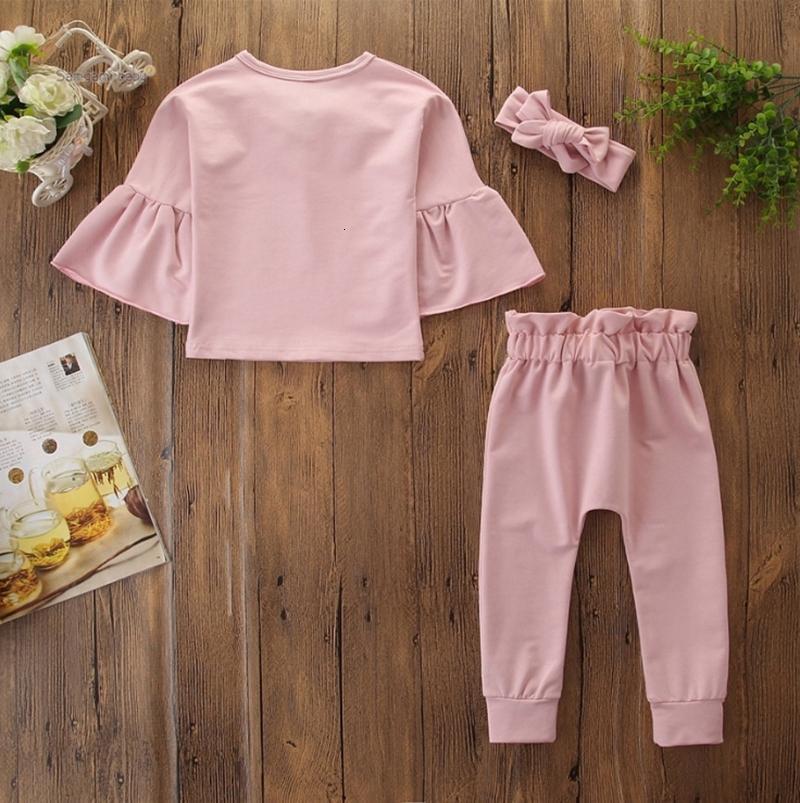 Abbigliamento Set Flare manica Top Pantaloni fascia 3pcs insiemi rosa della ragazza del bambino Outfits Designer Abbigliamento bambino DW4682