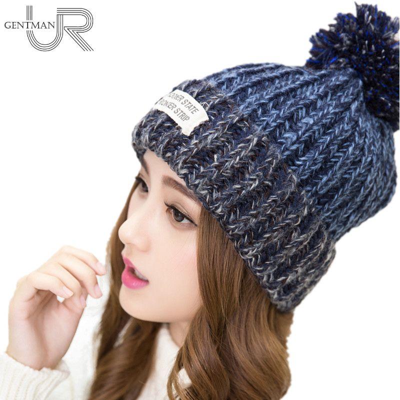 Cálido invierno de lana sombreros de punto casquillo de la piel para la mujer 2020 nueva mujer de moda pronto el estado Carta Skullies Gorros 6 colores del sombrero