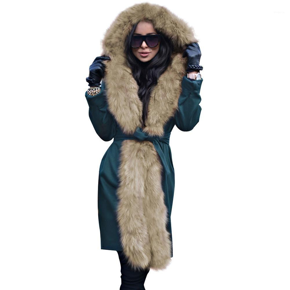 재킷 모피 칼라 띠는 두꺼운 코트 파카 Femmes Vestidoes 여성 겨울 디자이너 롱 코트 아래를 따뜻하게