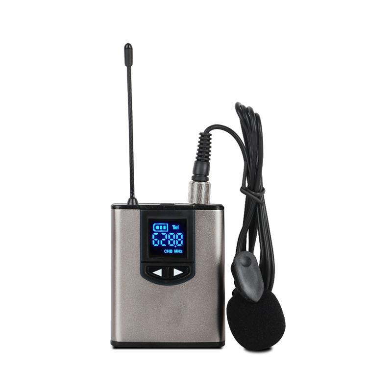Système de microphone sans fil UHF Mini Mic avec Lavalier Portable Bodypack Récepteur et mini récepteur pour Teach Conférence