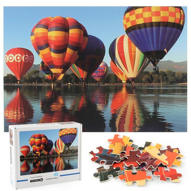 Verkäufe der Fabrik benutzerdefinierte erwachsene Kinder 1000 Stück Puzzle Weltlandschaftsmalerei Heißluftballon Puzzle Amazon Explosion