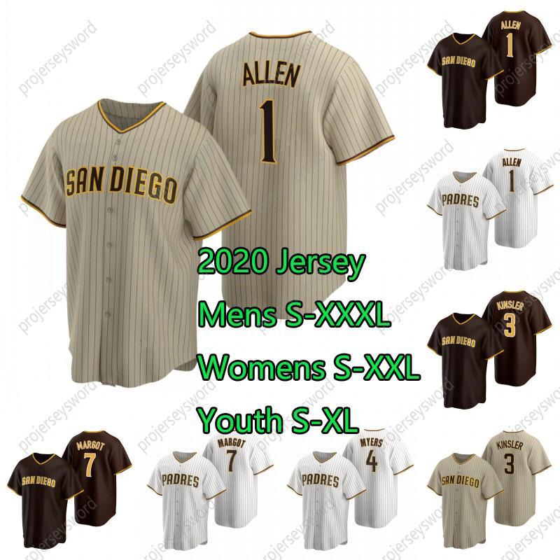 San Diego 2020 Jersey 1 Greg Allen 3 Ian Kinsler 4 Wil Myers 7 Manuel Margot Custom Mens Women Youth Baseball Jerseys