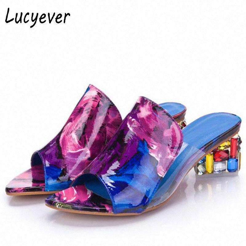 Lucyever Moda Rhinestone Kalın Topuklar Terlik Seksi Kadınlar Peep Toe Yüksek topuk Sandalet Boş Parti Ayaklı Tatlı Ayakkabı Kadın CYSf # Flops