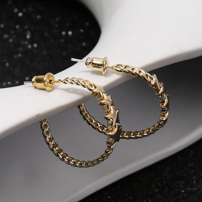 Stud S925 ELEGANCE11 Fashion Gold Earrings Spiral Design Ring Defects Beautiful Texture Classic Women's Decorative Jewelry Big Loop