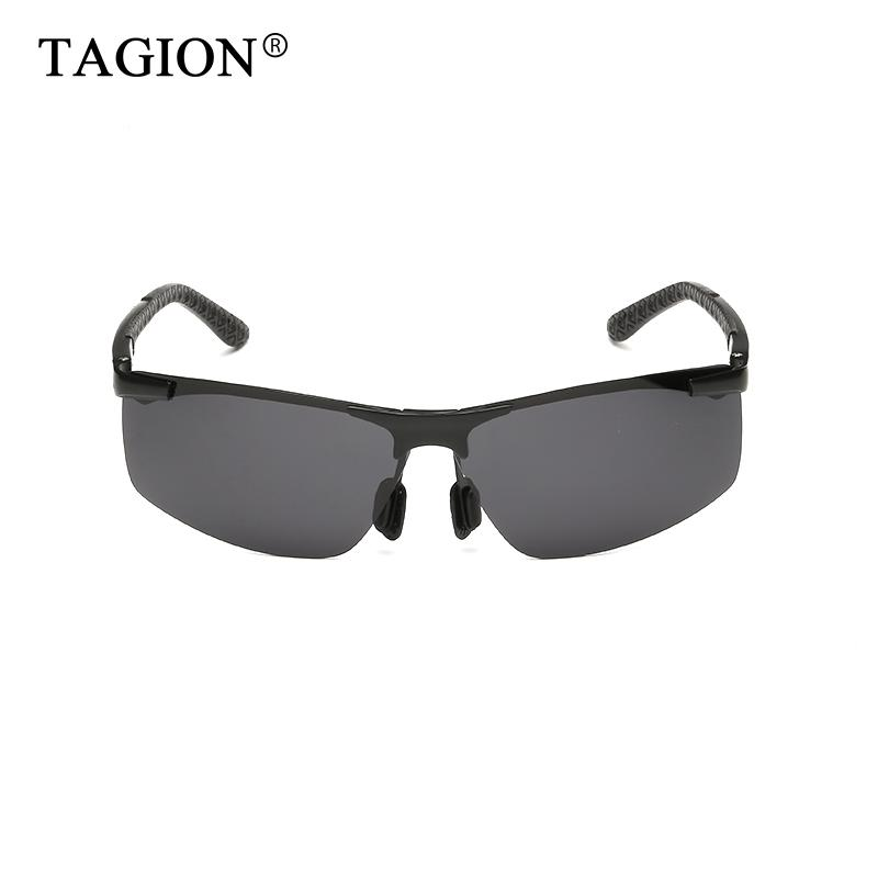 Lenses Rectangle Magnesium TAGION For Driving Men Sunglasses Aluminium Rimless Glasses Sun Polarized Funcb