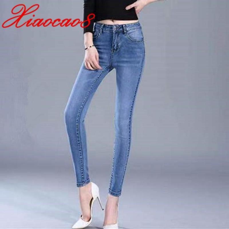 Confort delgados pantalones vaqueros de las mujeres del estiramiento suave Vaqueros Mujer Otoño elestic cintura Jeans Femme lápiz de los pantalones más el tamaño mamá