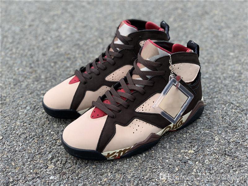 Yeni Patta Otantik Sequoia River Rock Işık Crimson Sneakers 7'ler Hava 7 OG SP Işıltılı Retro Zor Kırmızı Kadife Kahverengi Erkek Basketbol Ayakkabı x
