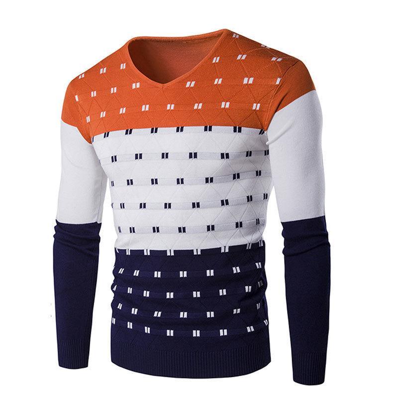 Мужские свитера 2021 весна осень лоскутный свитер хлопок тонкий тонкий V-образным вырезом пуловер простой теплый удобный воскресный