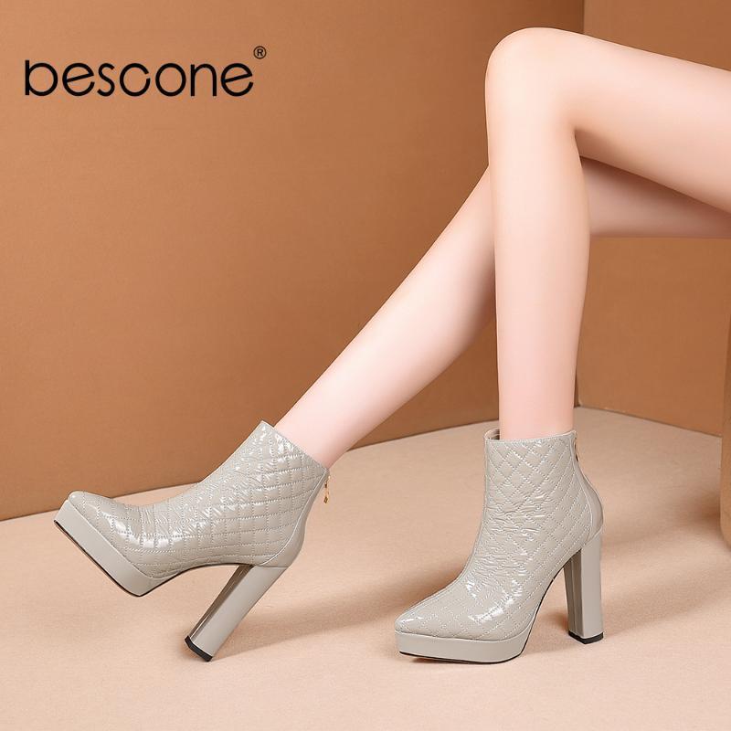 BESCONE Новый стильный Ботильоны сексуальный острым носом 12см супер высокой пятки высокого качества Boots Элегантное Платформа Женская обувь BO659