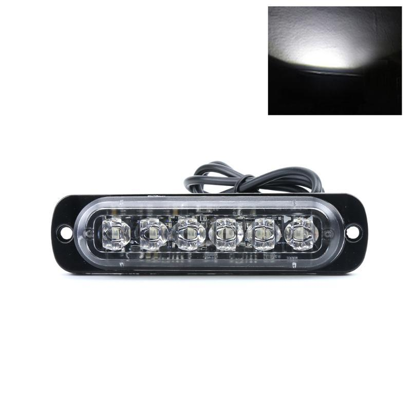 6 Leds Car Emergency Alarm Truck Signal Lamp Ultra-thin Grille Lightbar Flashing Dustprooof Vehicle Strobe Warning Light