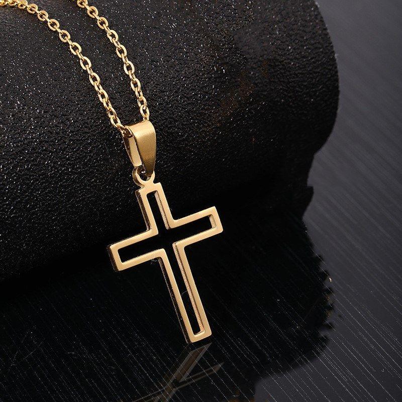Collana in acciaio inox per la collana della croce della catena della catena del colore dell'oro e della rosa dell'over dell'amante delle donne Piccoli gioielli religiosi incrociati