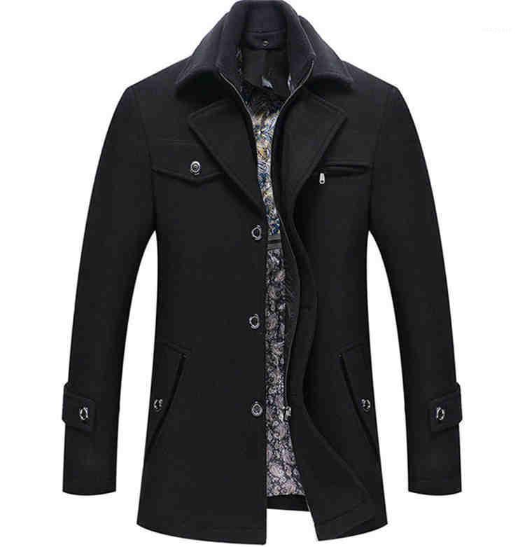 Sólido Brasão Cor Magro Casacos Mens Inverno Designer de Moda Plus Size grosso casaco de lã