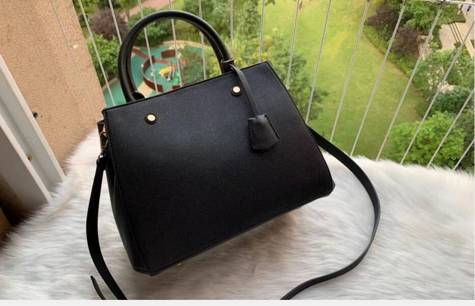 Montaigne negro bolso de hombro Bolsos de cuero de grabación en relieve de la bolsa de asas de las mujeres de la impresión floral bolsos de Crossbody de compras grandes bolsas de mensajero