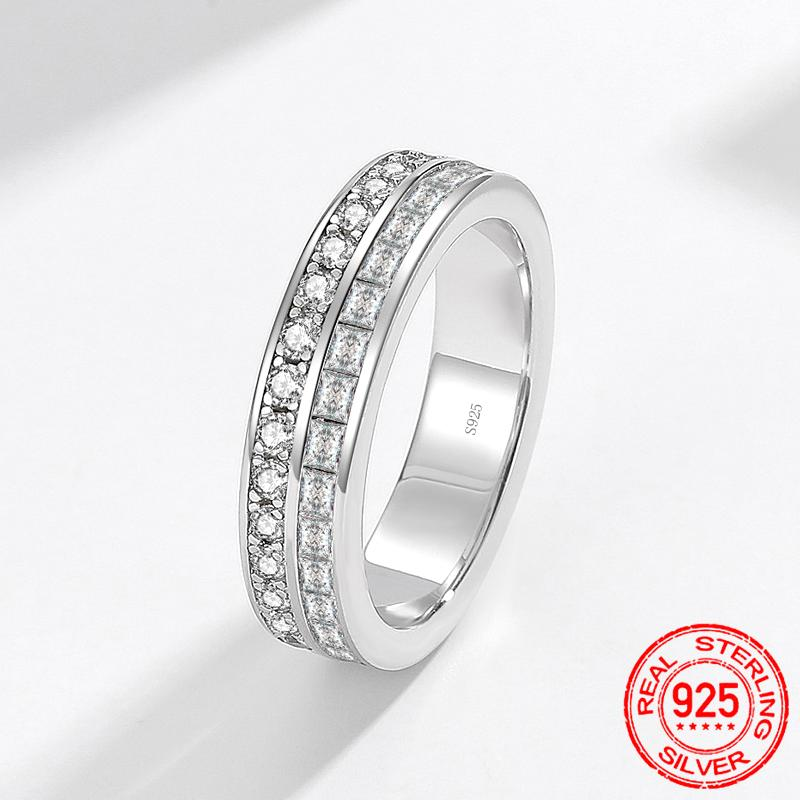 2020 New design Luxury 925 Sterling Silver Ring Round&square CZ Diamond Engagement Wedding Ring Fine Jewelry for Women XR444