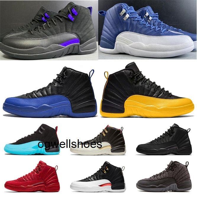 12s foncé Concord Indigo Blue Jumpman 12 chaussures de basket-ball noir hommes Concord FLU jeu royal UNIVERSITY GOLD loup gris chaussures de sport de sport