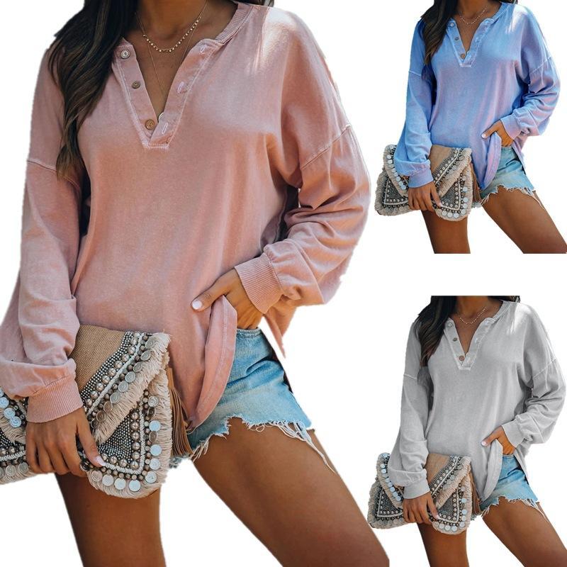 Sonbahar Katı Kadınlar Tshirt Rahat Uzun Kollu Düğme V Boyun Gevşek Tee Sonbahar Kadın Giysileri Tops