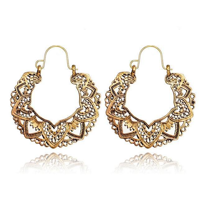 Ciondola Mandala orecchini Bohemian Cresent orecchini d'argento antico / oro Gypsy indiano Tribal Ethnic orecchini a cerchio