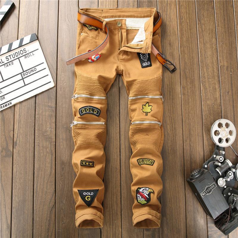 Hip HopDesign Brand Jeans per gli uomini di dritta 2020 Moda Foro strappato Distressed Moto Bici d'epoca Jean Plus Size kg-198