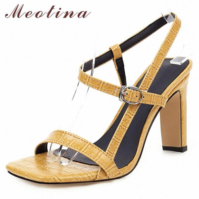 Meotina Summer Sandals Shoes Women Buckle Thick Heels Party Shoes Elegant Super High Heel Sandals Ladies Red 2020 Big Size 34 46 Nude WSvL#