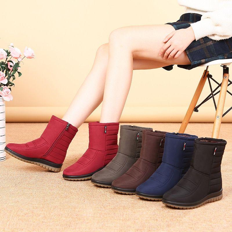 Warm Snow Boots neve stivaletti delle donne antiscivolo inverno scarpe nuovo cotone mamma velluto impermeabile caldi 6exuZ