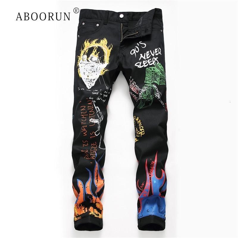 ABOORUN de los hombres de moda los pantalones vaqueros flacos impresos Bla vaqueros del lápiz de jóvenes urbanos Jeans para Hombre R1133