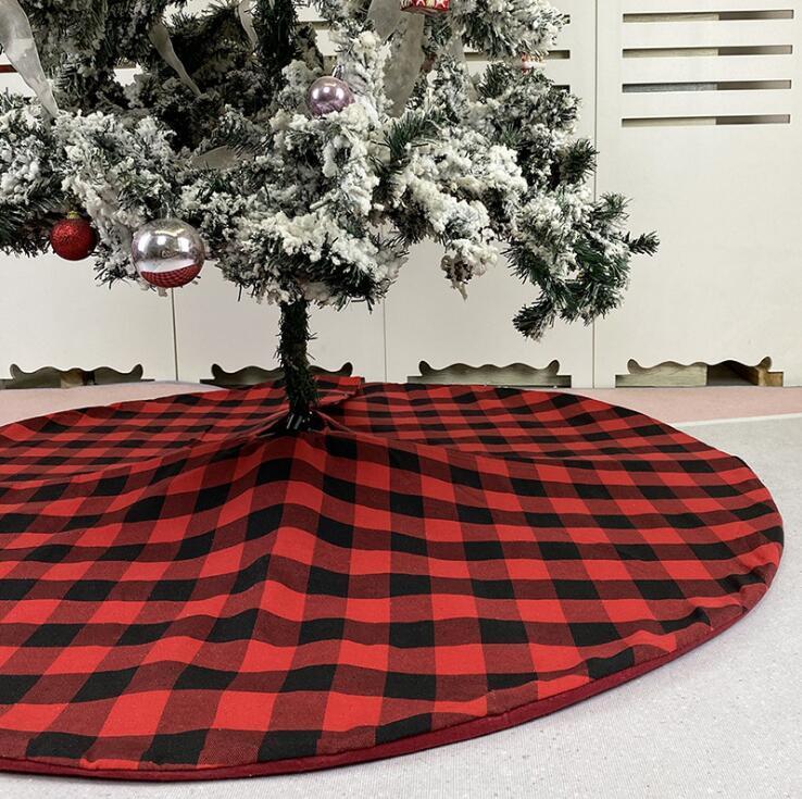 Albero di Natale rosso del pannello esterno nero Plaid Albero inferiore decorare albero di Natale Dress Xmas Trees Ornament vacanze feste HHD1480