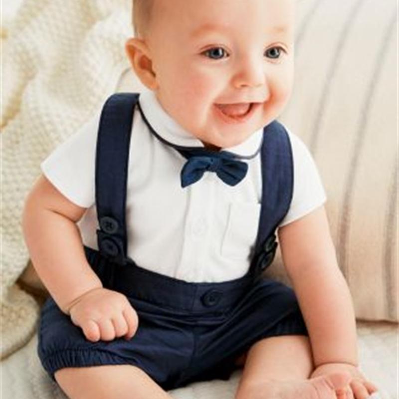 2020 Nouveau bébé Vêtements Mode Costume Modeling Gentleman T-shirt bébé blanc manches courtes + pantalon sangle 2 / Pcs Vêtements bébé garçon