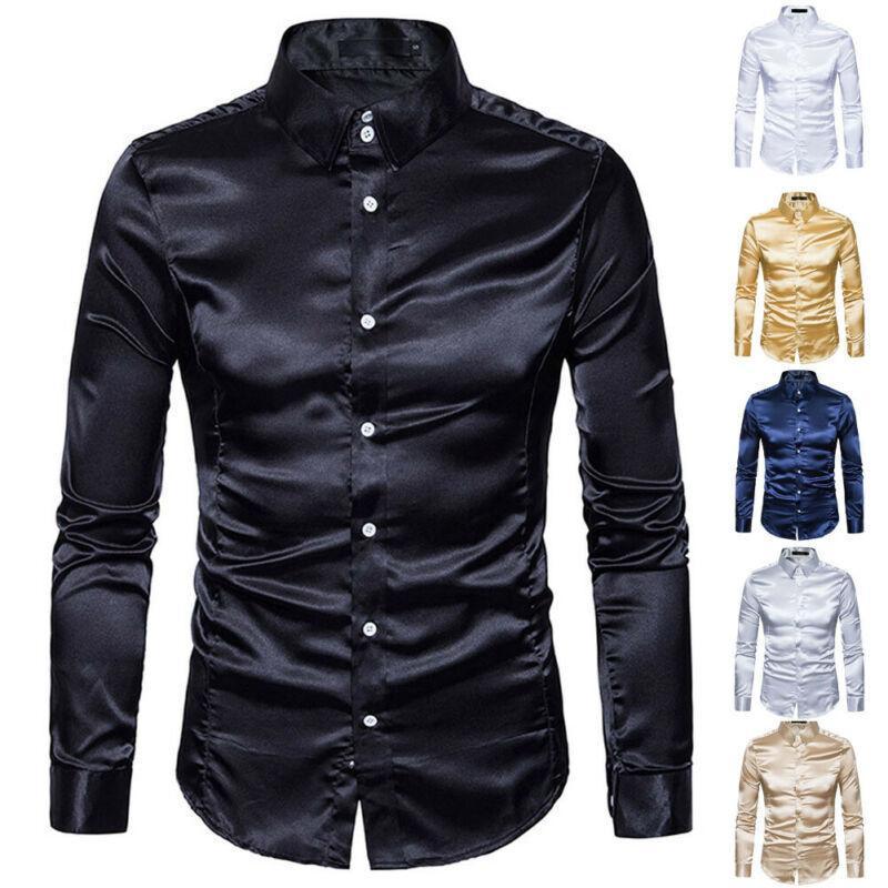 New Fashion Men's Silk Satin Shirts Long Sleeve Satin Smooth Tops Plain Business Ruffled Vintage Wedding Tuxedo Formal Shirts T200914