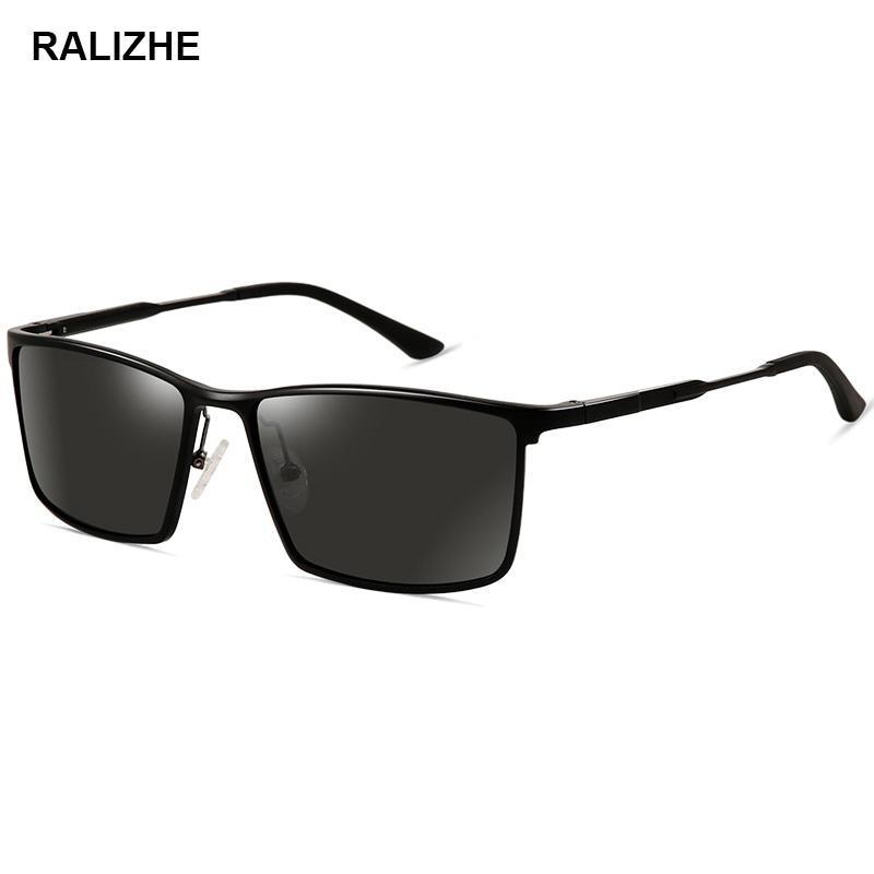Güneş Gözlüğü Ralizhe Marka Tasarımcısı erkek Polarize Lüks Dikdörtgen Siyah Sürüş Spor Anti-parlama Güneş Gözlükleri Gafas De Sol