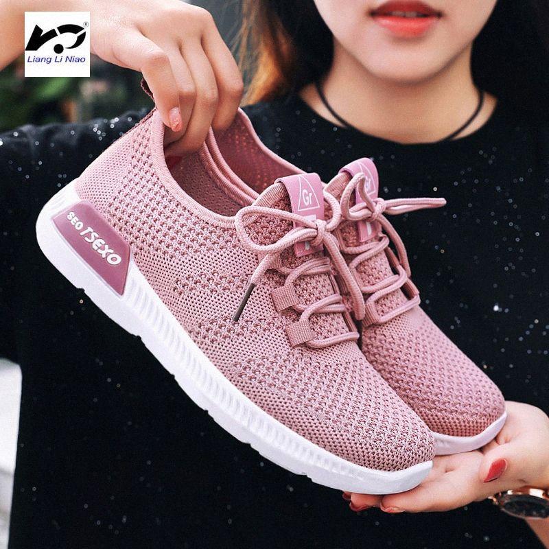 Sommer 2020 der Frauen Breathable Ineinander greifen flache Schuhe Air Leichte Freizeitschuhe Frauen Turnschuhe Frauen 2020 l17w #