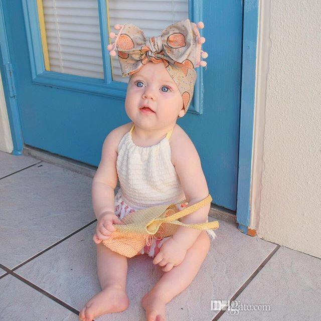 INS bambino neonate nappa Cintura pagliaccetti maniche Blackless increspature palla bianca rosa Newborn ragazze delle tute collo quadrato Onesies 0-2T