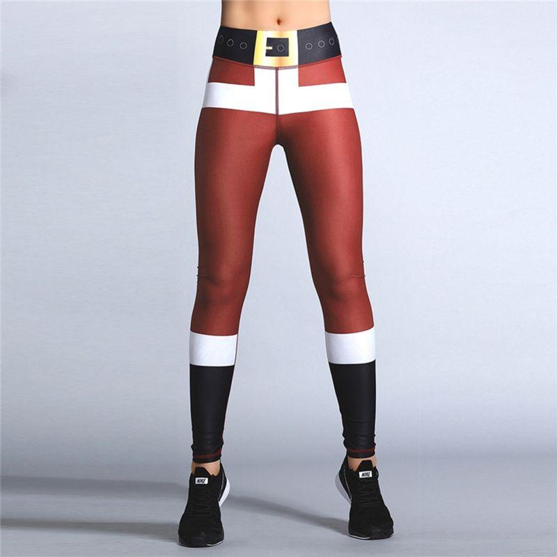 Nuova Esecuzione di yoga pantaloni scarni delle ghette Donne Bodybuilding Fitness Gym Leggins Jogger pantaloni della tuta di Babbo Natale vestiti di Natale