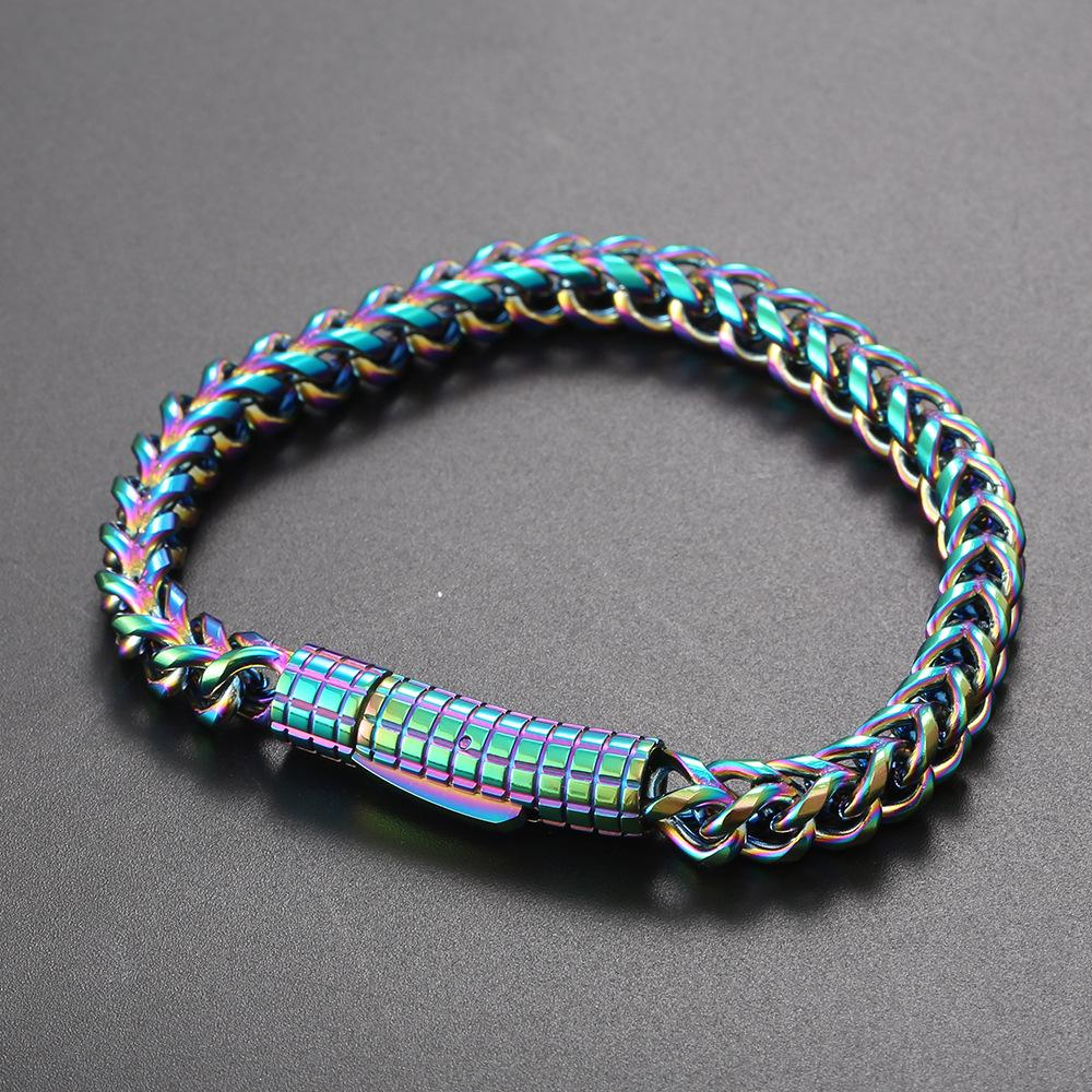 6 мм хип-хоп 316L цепные браслеты из нержавеющей стали титановые стальные мужские браслеты крутые мужчины красочные украшения