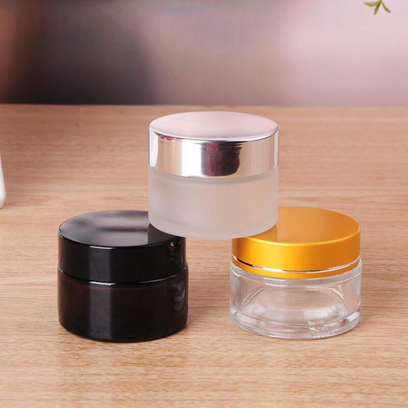 5G / 5ML 10G / 10ML التجميل جرة فارغة وعاء ماكياج زجاجة كريم الوجه الحاويات مع الفضة الذهب الأسود غطاء وسادة الداخلية DHE1398