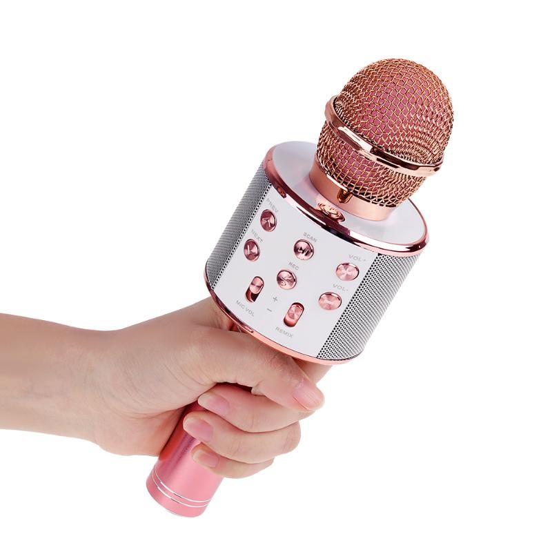 Микрофон Профессиональный Bluetooth Wireless Speaker Karaoke Музыкальный плеер Петь Mic Recorder Handheld микрофона Mic КТВ 1800mAh