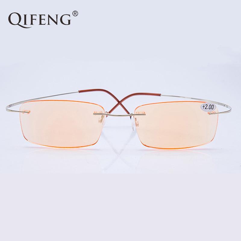 + 1.0 + 1.5 + 2.0 + 2.5 + 3.0 Vidrios de lectura ultraligidos Hombres presbectiva qifeng macho gafas mujeres grado titanio hembra rimless qf260 xoutw