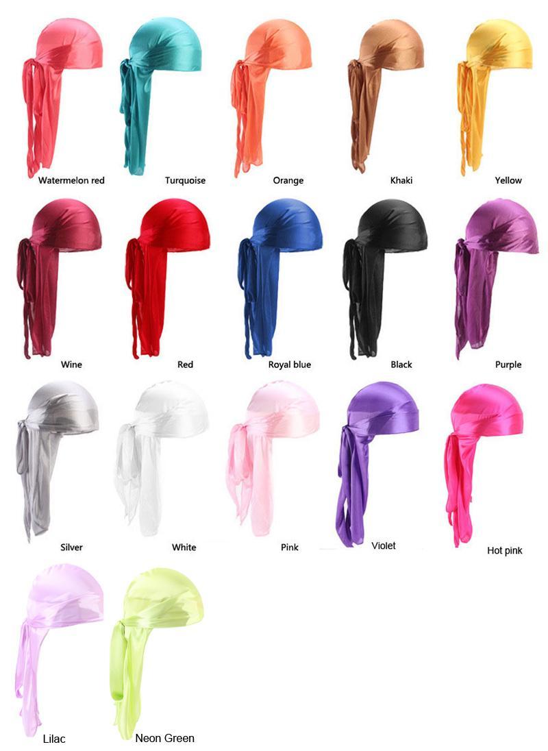 저렴한 실크 롱 테일 스카프 모자 남성의 명주 Durags 손수건 터번 가발 남성 실키 Durag 모자 해적 모자 13 색