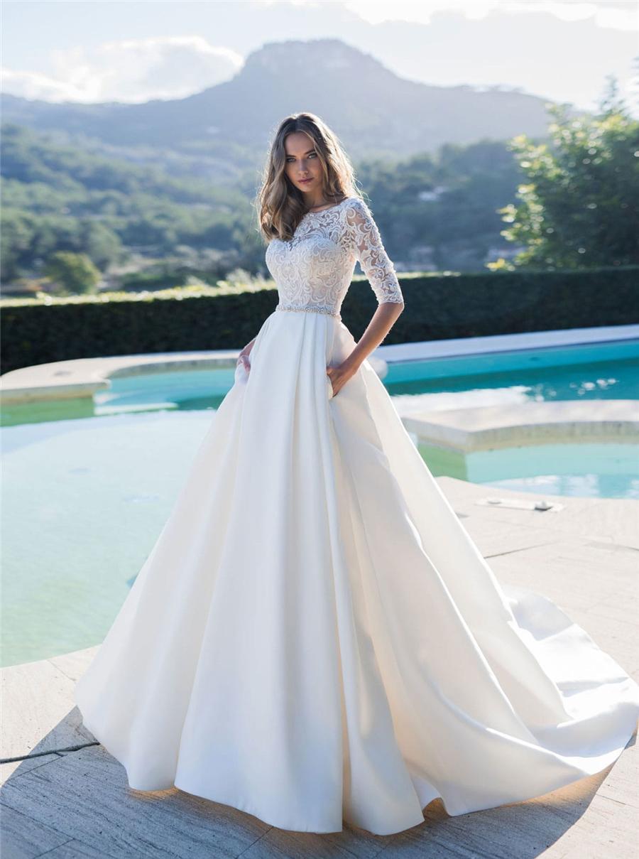 Metade mangas A linha de vestidos de casamento 2020 cinto frisado nupcial Satin Modest Garden vestidos personalizados Modest Praia Europeu Moda Robe De Mariee