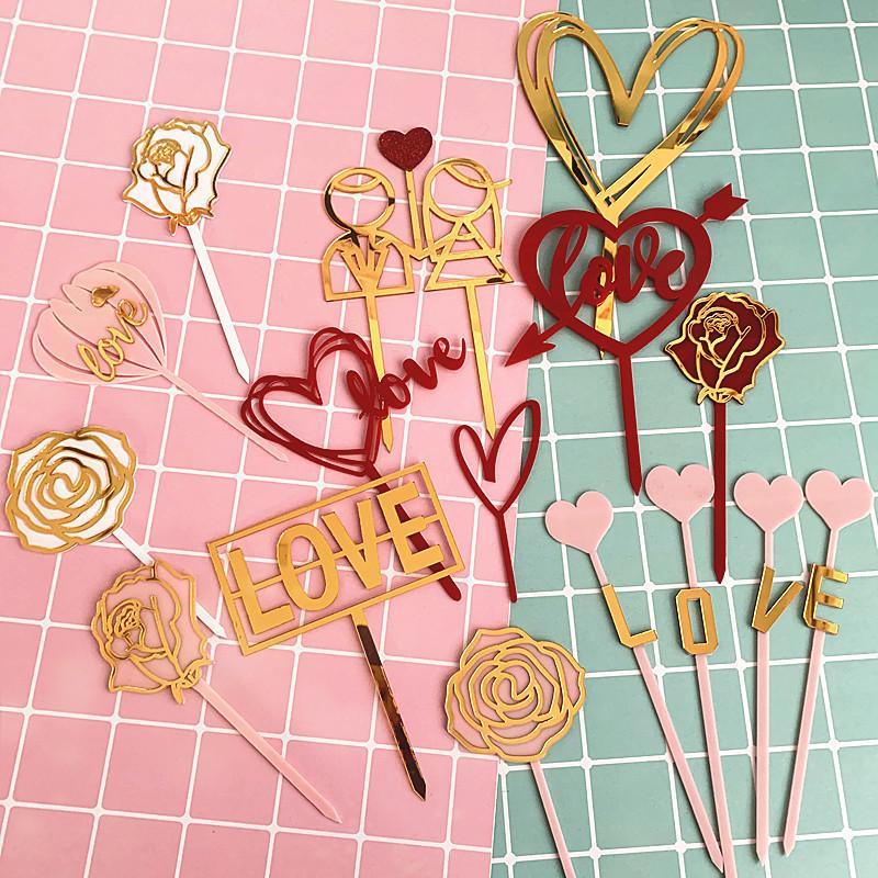 Mariage d'amour acrylique gâteau acrylique Topper or rose Fleur de petit gâteau d'anniversaire Topper pour le mariage Cake Party Décorations 2020 Nouveau