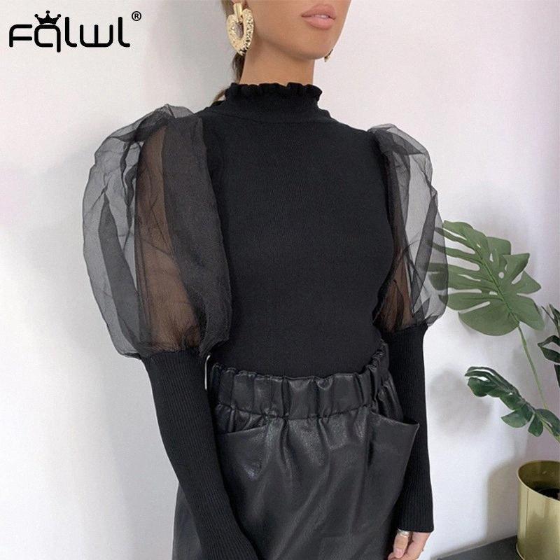 FQLWL Volantes Otoño cuello alto de punto acanalado de la blusa Mujeres camiseta de manga Puff Blanco Negro atractivo de la blusa femenina tapas de las señoras 0pRp #