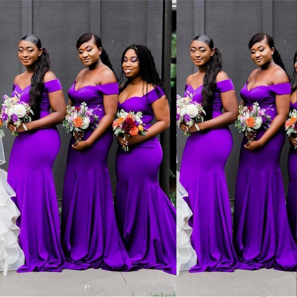 Yeni Afrika Mor Gelinlik Modelleri Kapalı Omuz Denizkızı Cap Sleevels Onur törenlerinde Tren Plus Size Düğün Misafir Elbise Maid Sweep