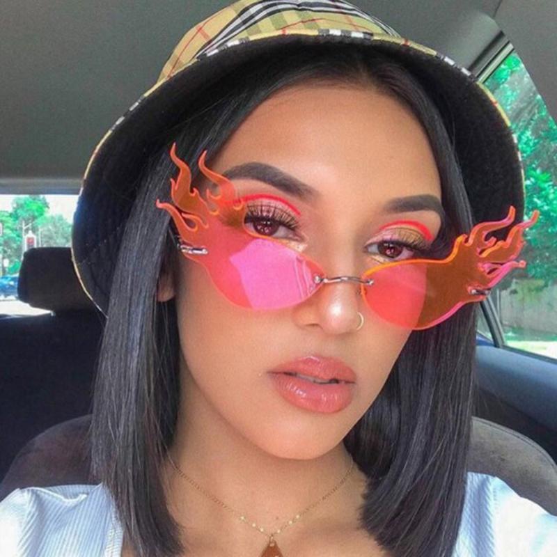 نظارات شمسية أزياء فاخرة النار لهب المرأة بدون شفة موجة نظارات الشمس ظلال معدنية ل خمر مرآة نظارات uv400