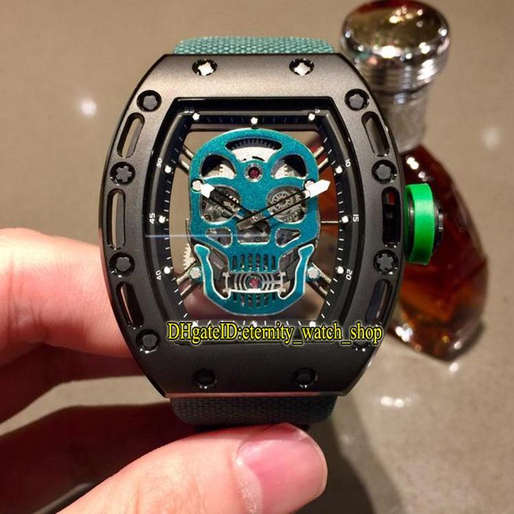 Высокое качество Производители Специальное предложение Luxury RM 052 PVD черный корпус Череп Скелет циферблат Япония Miyota Автоматические Мужские RM52-01 Часы нейлон St