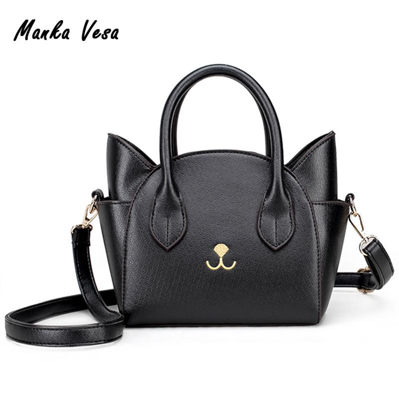 Wholesale- Womens Hand Bags Small Cute Cat Messenger Bag Handbags Women Leather Bags Ladies Black Famous Brands Pink Bag