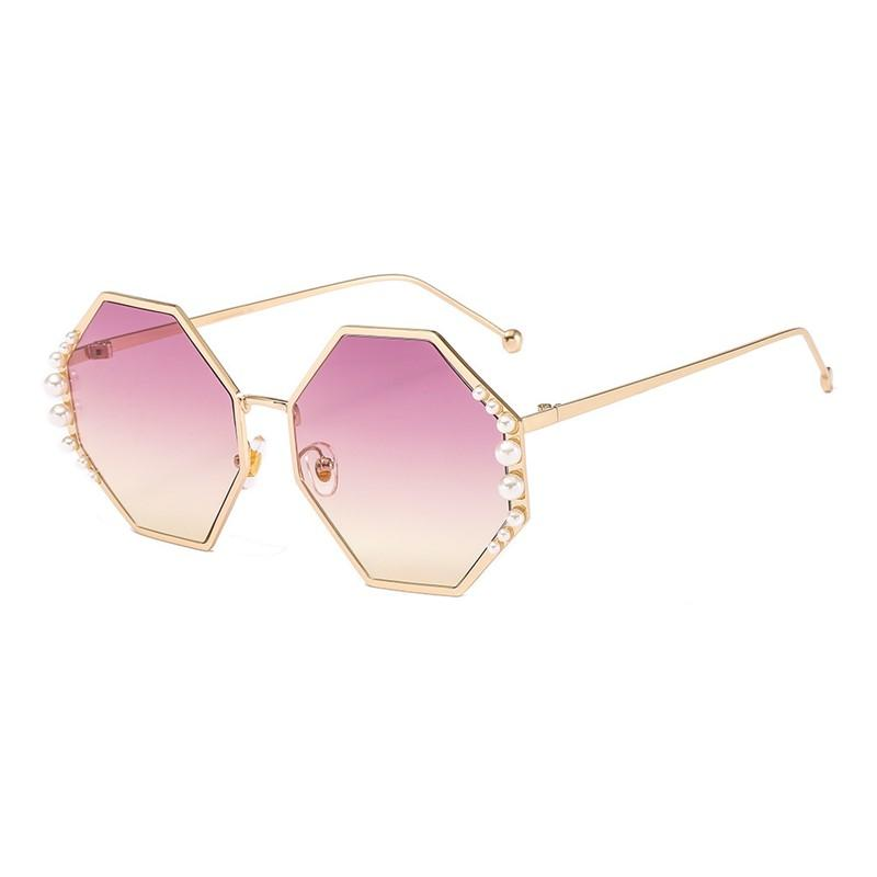 Oloey Metallic Pearl Inlaid Octagon Luxury Women's Sunglasses Noble Temperament Big Pearl Gafas de sol Diseño de lujo LBUJS