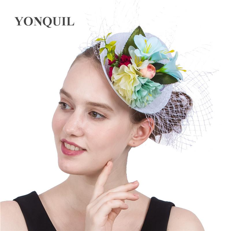 New style 4Colors Lady Mini silk flower Top Hats Cap veils Fascinator Hair Clip Costume Hair Band Accessories wedding show party SYF204
