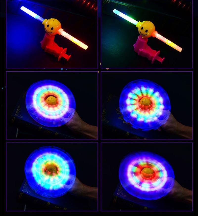 Cgjxs Adorável Led piscando sorriso da cara Empurrando Windmill Pinning Windmill Show com som Toy Crianças Q0129