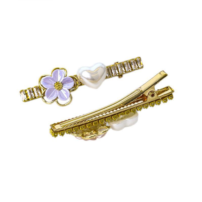 estilo de muy buen gusto mujer pétalo horquillas del cristal de pasadores de señora Girls Accesorios para el cabello corazón de la perla de Headwear BB clips E57